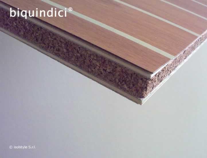 B piastrelle isoltiles in sughero laminato finitura teak